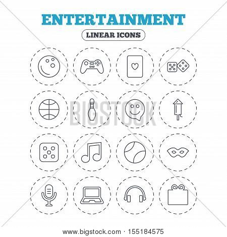 Entertainment icons. Game console joystick, notebook and microphone symbols. Poker playing card, dice and mask thin outline signs. Musical note and smile in speech bubble. Vector