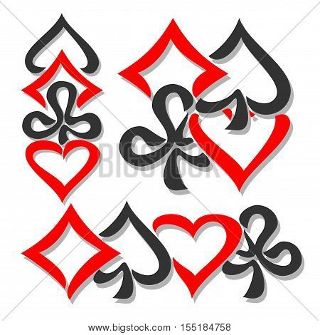 Vector logo card Suits, three abstract set gamble Poker card suits: black spades, red hearts, diamonds, clubs for icon casino, poker club, emblem for gambling games, isolated on white background.