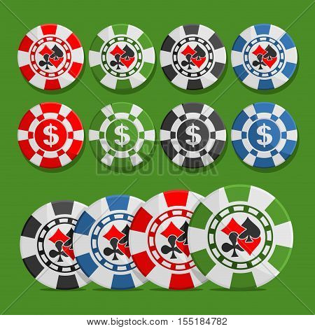 Vector logo poker Chips: eight different playing tokens set, colorful casino chips with dollar sign, chip with icon card suits: black spades, red hearts, diamonds, clubs isolated on green background.