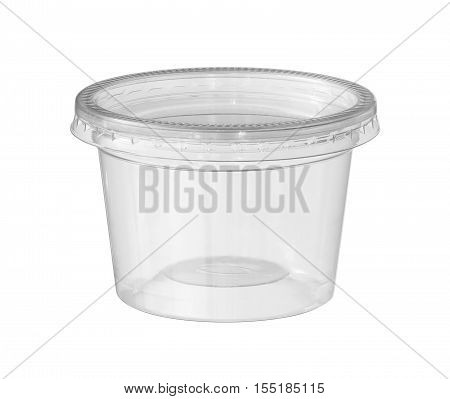 Plastic food cup (with clipping path) isolated on white background