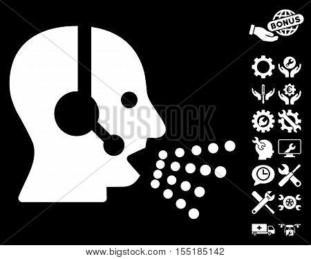 Operator Speech pictograph with bonus settings icon set. Vector illustration style is flat iconic symbols on white background.