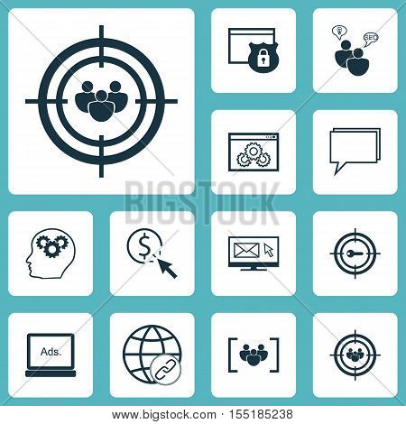 Set Of Advertising Icons On Ppc, Conference And Connectivity Topics. Editable Vector Illustration. I