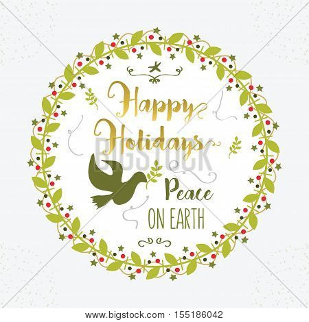 Green and golden Happy Holidays Peace on Earth floral circle border decoration emblem on white background