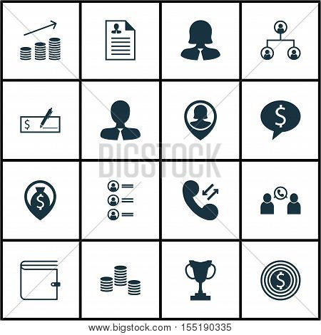 Set Of Hr Icons On Money Navigation, Cellular Data And Tree Structure Topics. Editable Vector Illust