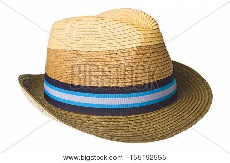Elegant summer straw hat isolated on white
