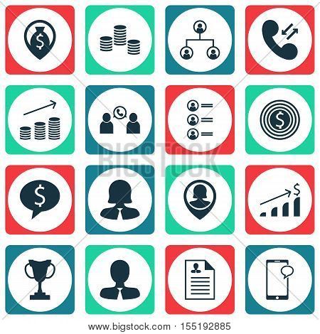 Set Of Hr Icons On Pin Employee, Job Applicants And Business Deal Topics. Editable Vector Illustrati