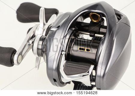 Multiplier Fishing Reel On White Background.