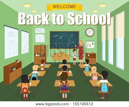 School classroom template with children at the desks and teacher at the blackboard vector illustration