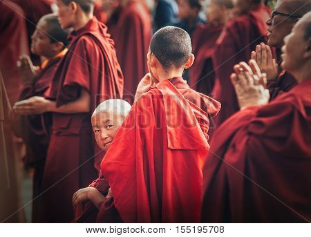 Choglamsar, India - AUGUST 19: Monks and Nuns at Dalai Lama 14th Sermon on AUGUST 19, 2016 in Choglamsar, Leh region, Jammu & Kashmir, India.