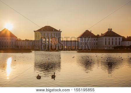Nymphenburg Palace With The Royal Garden In Munich, Germany