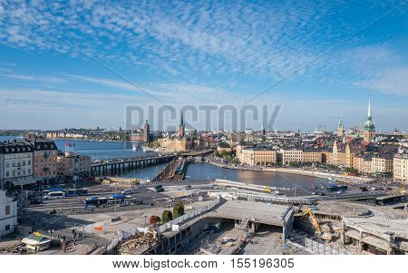 STOCKHOLM, SWEDEN - SEPTEMBER 27, 2016: Aerial view of of Slussen and Stockholm. The reconstruction of Slussen has been one of the most controversial projects in recent years.