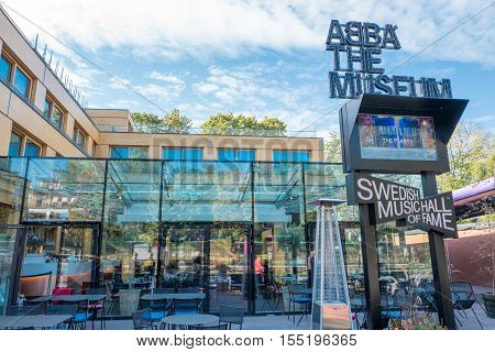 STOCKHOLM, SWEDEN - SEPTEMBER 27, 2016: Exterior of ABBATheMuseum. The ABBA museum has become one of Stockholms major tourist attractions.
