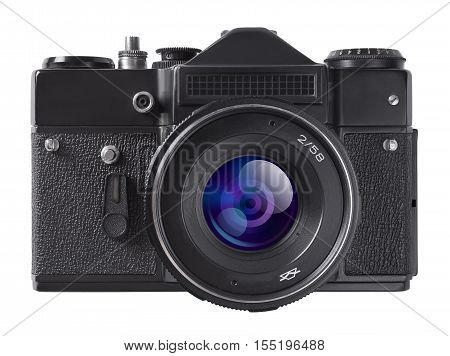 Vintage photo camera isolated on white background