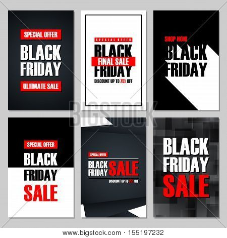 Set of Black Friday Sale banners. Special offer, discount up to 75% off, shop now, ultimate sale. Banners for business, promotion and advertising. Vector illustration.