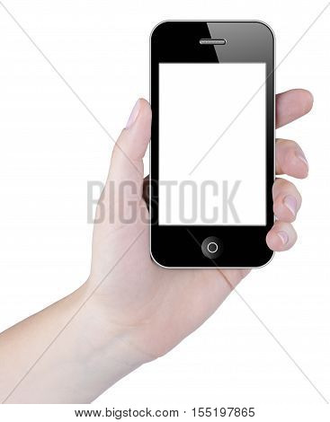 Woman hand holding smart phone with blank touch screen