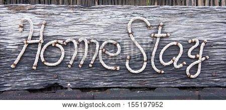 label home stay wooden style older Country home stay