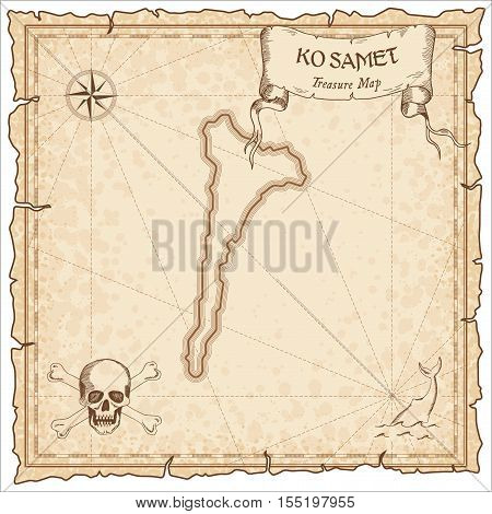 Ko Samet Old Pirate Map. Sepia Engraved Parchment Template Of Treasure Island. Stylized Manuscript O