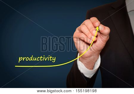 Businessman drawing plan to increase company productivity