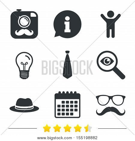 Hipster photo camera with mustache icon. Glasses and tie symbols. Classic hat headdress sign. Information, light bulb and calendar icons. Investigate magnifier. Vector