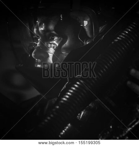 future looking warrior on the battlefield, fantasy image