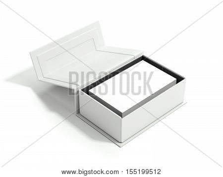 Opened white package with stack of business cards on bright floor. 3d rendering