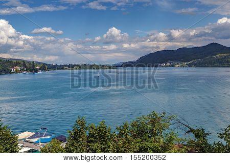 Landscape of the Worthersee lake Carinthia Austria