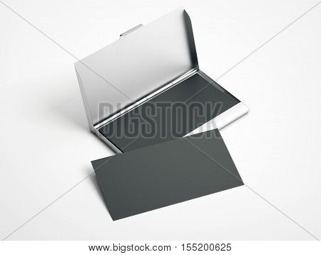 Metal case with white blank business cards on a white floor. 3d rendering