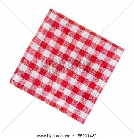 Сheckered linen napkin isolated on white background