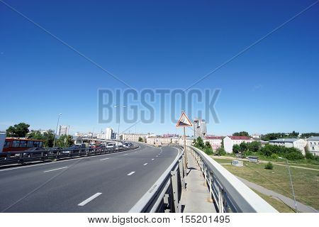 Nizhny Novgorod, Russia. - June 28.2016. The Exit Of The Metro Bridge Across The Oka River To The Lo