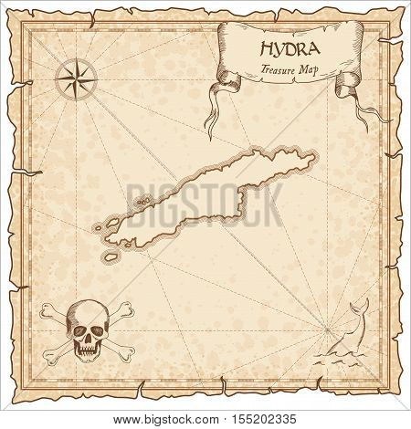 Hydra Old Pirate Map. Sepia Engraved Parchment Template Of Treasure Island. Stylized Manuscript On V