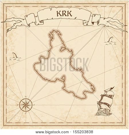 Krk Old Treasure Map. Sepia Engraved Template Of Pirate Island Parchment. Stylized Manuscript On Vin