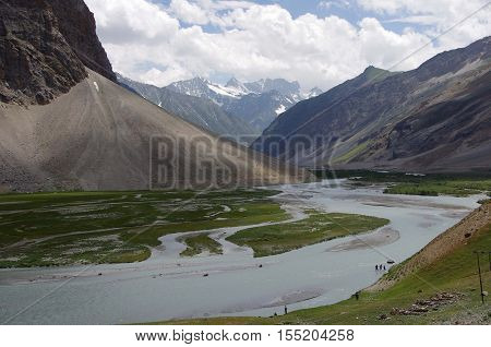 River between Sonamarg and Kargil in Ladakh, India