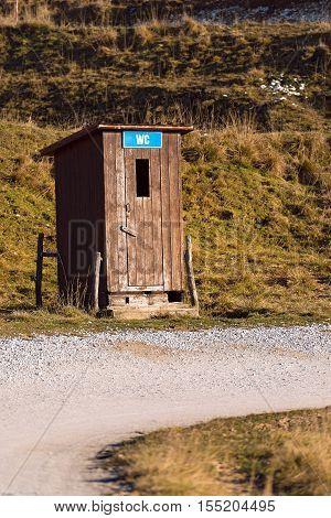 Public toilet (WC - latrine) in the Regional Natural Park of Lessinia Plateau of Lessinia (Italian Alps) Veneto Verona Italy