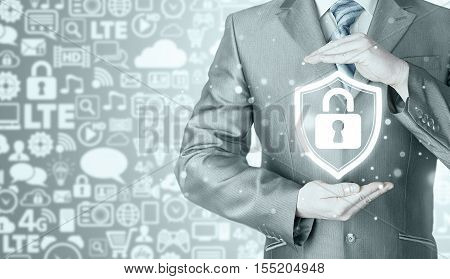 Data protection and insurance. Concept of business security, safety of information from virus, crime and attack. Internet secure system. Icons background. Communication, Internet.