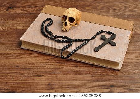 Vervet monkey skull with rosary beads on top of an old book