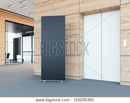 Blank roll up bunner in the modern office lobby with wooden walls. 3d rendering