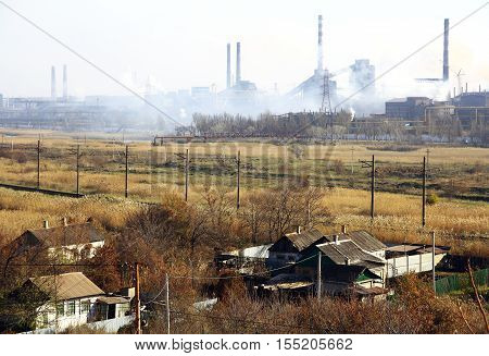 Ukraine. Mariupol. View of the Metallurgical Plant and the surrounding area autumn day.