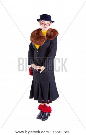 A Girl Dressed As An Elderly Old Lady