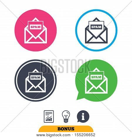 Mail icon. Envelope symbol. Message spam sign. Mail navigation button. Report document, information sign and light bulb icons. Vector