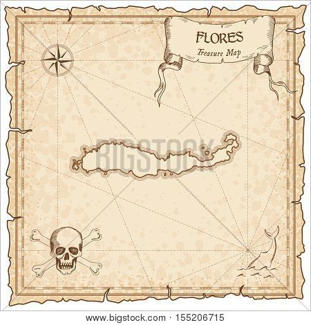 Flores Old Pirate Map. Sepia Engraved Parchment Template Of Treasure Island. Stylized Manuscript On