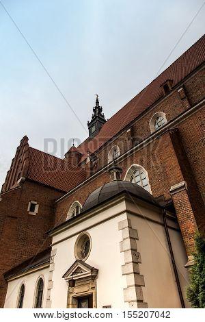 Corpus Christi basilica built in the Gothic style of the interior Baroque Krakow Poland