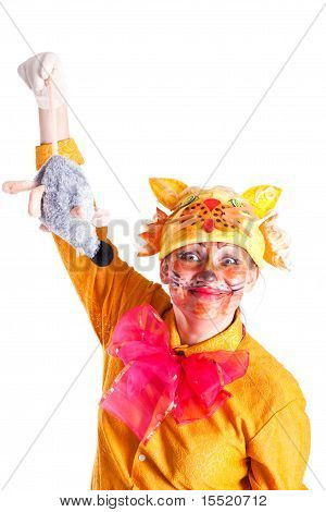Girl Dressed As A Cat And Mouse