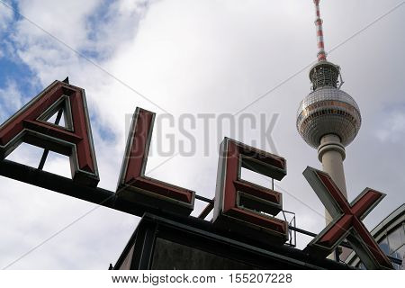 The television tower and the lettering Alexanderplatz at the station in Berlin