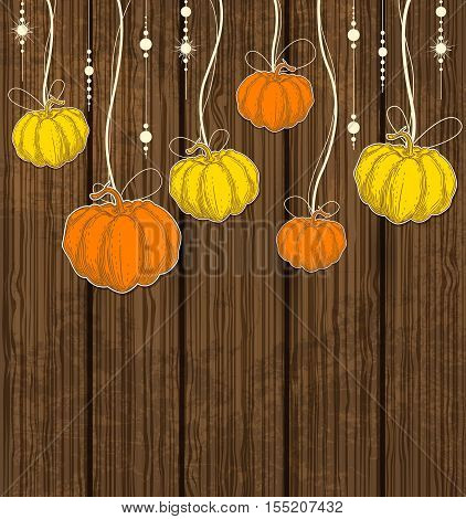 Orange and yellow pumpkins on a wooden background. Decorative vector autumn background.