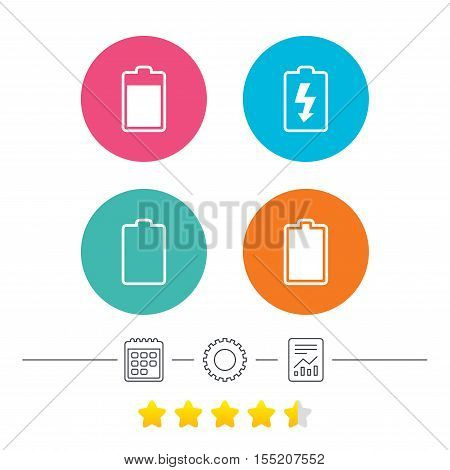 Battery charging icons. Electricity signs symbols. Charge levels: full, empty. Calendar, cogwheel and report linear icons. Star vote ranking. Vector