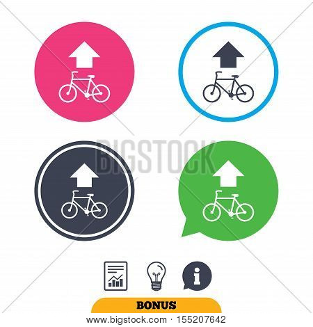 Bicycle path trail sign icon. Cycle path. Up straight arrow symbol. Report document, information sign and light bulb icons. Vector