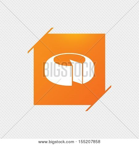 Cheese wheel sign icon. Sliced cheese symbol. Round cheese. Orange square label on pattern. Vector