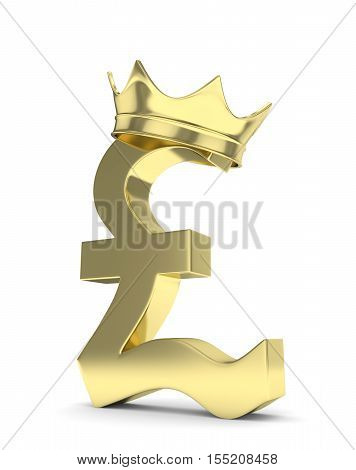 Isolated golden pound sign with crown on white background. British currency. Concept of investment, european market, savings. Power, luxury and wealth. Great Britain, Nothern Ireland. 3D rendering.