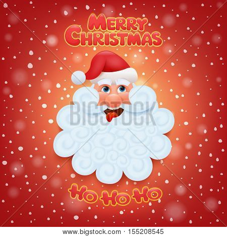 Holiday greeting card with santa claus head. Merry christmas ho ho ho title Vector illustration.