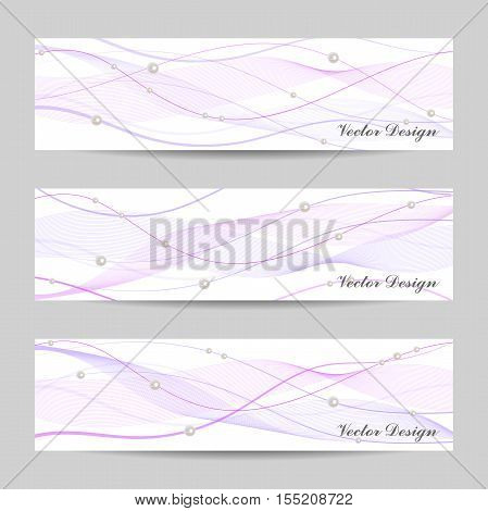 Set of horizontal banners with stripes, veil and pearls on white background for use in your designt.